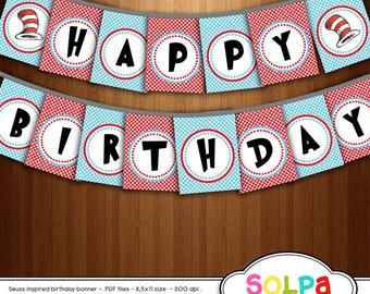 dr seuss digital birthday banner inspired cat in the hat printable for birthday party