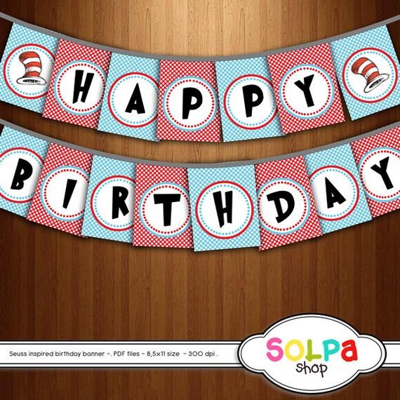 Cat Birthday Banner: Dr Seuss Digital Birthday Banner Inspired Cat In The Hat
