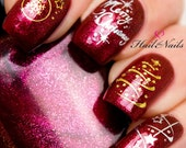Christmas Nail Wraps Water Transfers Decal Nail Art Y52 Gold Silver Stars Salon Quality