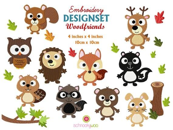 Embroidery wildlife woodland animals
