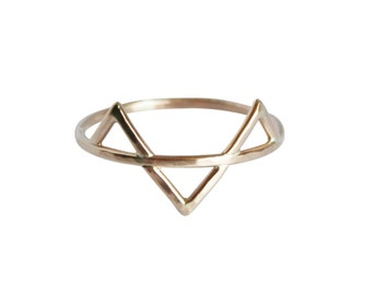 Three Gold Spikes Ring, Thin Gold Ring, Triangle Ring, Geometric Ring, Three Gold Spikes Ring