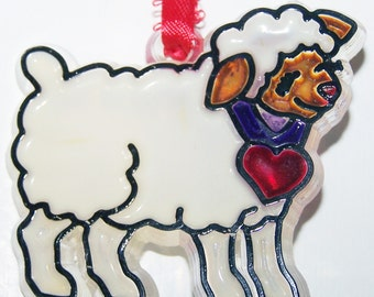 ORNAMENT Lamb With Red Heart Acrylic Handpainted Home Decor