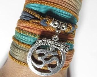 Bohemian Silk Wrap Bracelet Om Namaste Yoga Jewelry Meditation Wrist Band Unique Gift Om Necklace Unique Christmas Stocking Stuffer Under 30