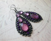 Dangle Vintage Style Purple Earrings