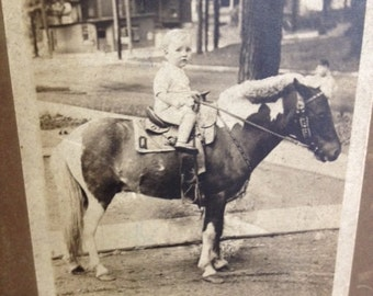 Vintage Child Photo on Pony 1920s