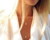 Simply Divine Rosary Necklace, Cross Necklace, Gold Rosary, Silver Rosary, Religious Necklace, Lariat Necklace