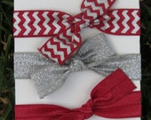 3 Pack Alabama Crimson Red Silver Gray Metallic Chevron Bow Tie Hair Ties Stretch Fold Over Elastic FOE Pony Tail