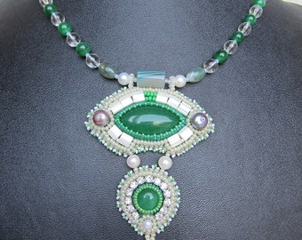bead embroidery necklace  green jade agate  EBEG