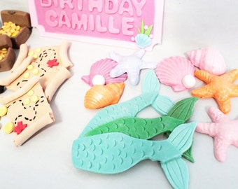 Fondant Edible Mermaid Tail Cupcake Toppers 12 qty tails, 12 shells  cupcake toppers for Under the Sea Party, Mermaid