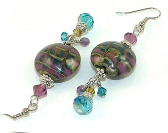 MAJOR MARKDOWN - Amethyst and Aqua Glass Lamp-work Torch Bead and Crystal Dangle Statement Earrings