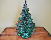 "Large Vintage Ceramic Christmas Tree - 17"" - Table Top Lighted Tree - Tall Vintage Ceramic Tree"