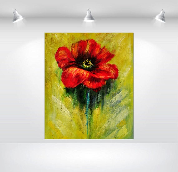 Items similar to large abstract flower painting 24 for Painting large flowers in acrylic