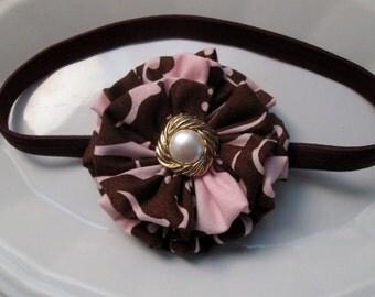 pink and brown headband,baby fabric headband,newborn headband,