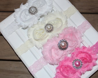 Vintage Double Shabby Chic Lace Headband with Pearl Button