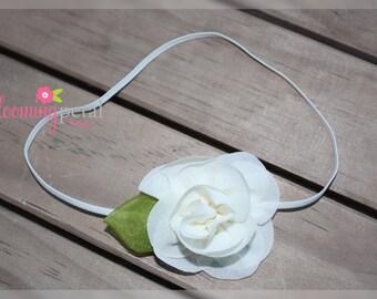 Ivory Chiffon Leaf Flower Skinny Elastic Newborn/Toddler Headband