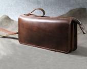 Handmade genuine leather handbag-Wristlet bag-Clutch bag