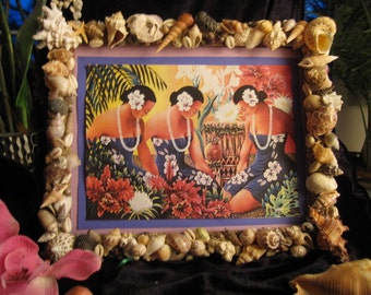 Hawaiian Sea ShellArt  Picture Frame with Print of 3 Wahine in Blue Hula.