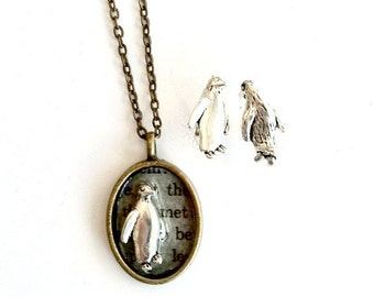 Penguin Jewelry gift set Steampunk necklace and earrings Handmade Gift