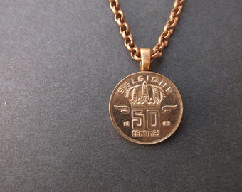 Belgium Copper Colored Coin Necklace - Belgium Coin Pendant  dated 1998 Belgium Coin Necklace with Bail and Chain