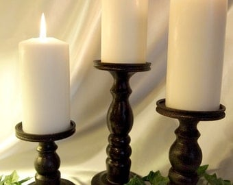 Metallic Magnificence in Black, Pillar Candle Holders Set of 3