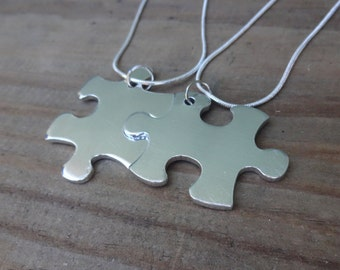 Sterling Silver Personalized Puzzle Piece Necklace Set