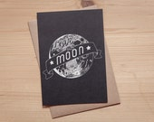 Love you to the moon and back - Hand lettered card-  Folded card - Greeting card - Postcard