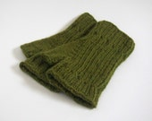 wool free fingerless mittens made by hand -- the digitorum in olive