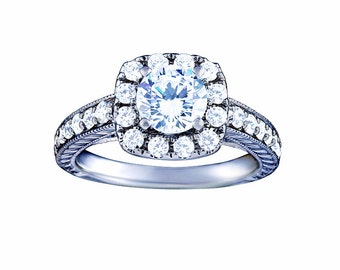 Certified diamond engagement ring 1.01 ctw 14 k white gold hand made