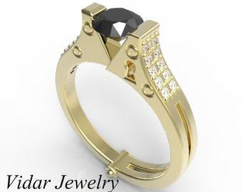 Black Diamond Engagement Ring,Unique Handcuff Ring Design With Diamond Pave,Handcuff Ring,Diamond Handcuff Ring,Unique Engagemet Ring