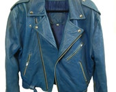 Parody Clothing Butter Blue Leather Biker Motor Bomber Jacket Vintage Grunge 90's