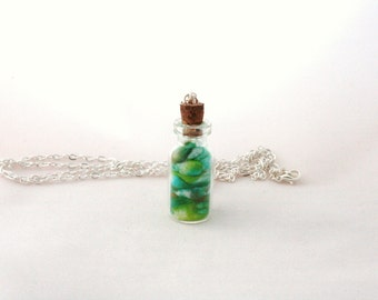 Cotton Grassy Hills | Bottle Necklace