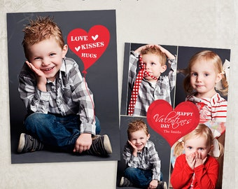 Valentine Card Template 003 -  5x7 inch photo card template - for photographers and personal use - ID171, Instant Download