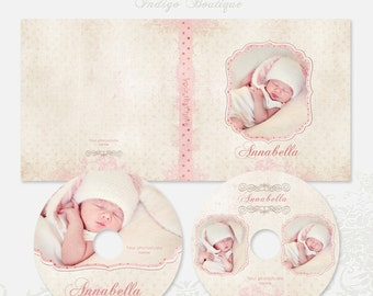 DVD Single and Double Cases, 2 CD/DVD Labels Templates - Baby Girl - Id024