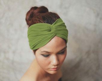 Green Tea, Turban Twist headband, Plain color collection, yoga headband, HTW-P14