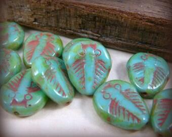 SALE - Trilobite Beads - Turquoise Trilobite (006) - 11x13mm - Qty 6