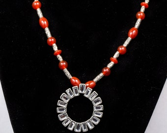 Carnelian and Tibetan Silver with Art Deco Crystal Pendant