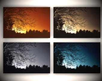 Autumn Night Series, HDR photographs, Orange, blue, gold, black, Canvas Quad Series, The Progression of Autumnal Night
