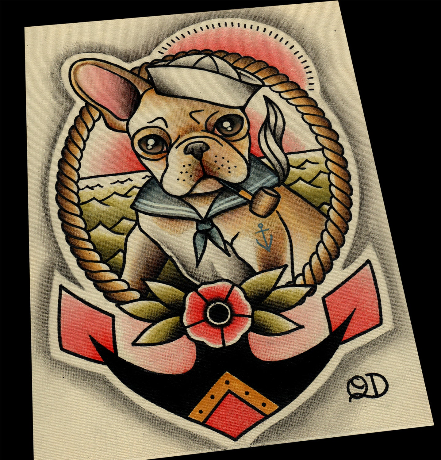 11x14 frenchie sailor tattoo flash for Traditional navy tattoos