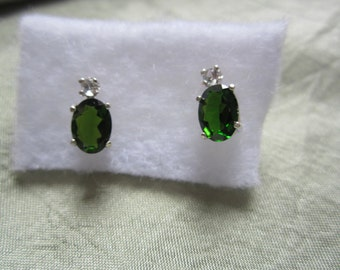 Russian Green Diopside Accented Stud Silver Earrings