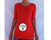 """Cute """"Thing 3""""  Maternity Shirt- Personalized pregnancy clothes- Baby shower shirt- Halloween costume."""