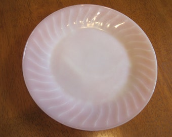 Vintage Fire King glass Pink Swirl Plate 1950,s