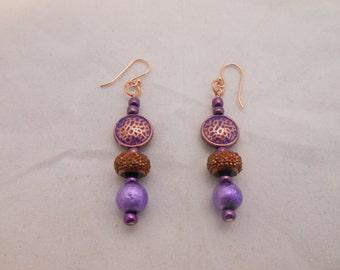 Purple and Copper Beaded Earrings