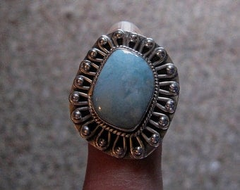Larimar Sterling Silver Ring Size 5 1/2