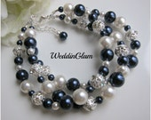Triple layer Swarovski pearl bracelet multi layer cuff bracelet Ivory navy dark blue combination Mother of bride and groom statement jewelry