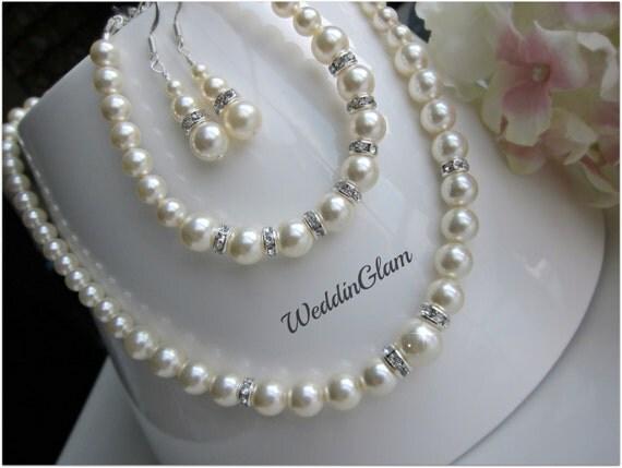 Amato Parure di collana di perle nuziale bracciale di perle da YN23