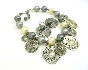 Pearl and Shell Set, Gray and White Pearl Necklace and Earrings, Pewter Shells, Pearls and Sand Dollars