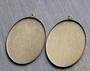 12 pcs of brass mounting setting pendant for 30x40mm cameo-7551-antique bronze