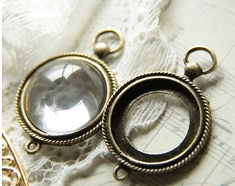 12 pcs of metal mounting setting for 20mm cameo 7558-antique bronze
