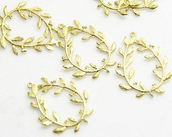 6 pcs of brass wreath charm pendant 25x30mm-1681-Raw brass