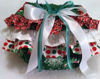 Peppermint Party Ruffle Bottom Diaper Cover